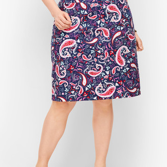 Talbots Paisley Watercolor Canvas A-Line Skirt