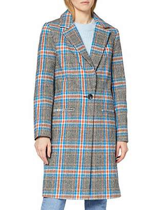 Miss Selfridge Women's Check Crombie Wool Blend Coat