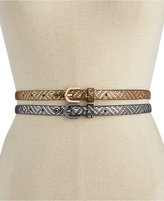 INC International Concepts Metallic Texture 2 for 1 Skinny Belt, Only at Macy's