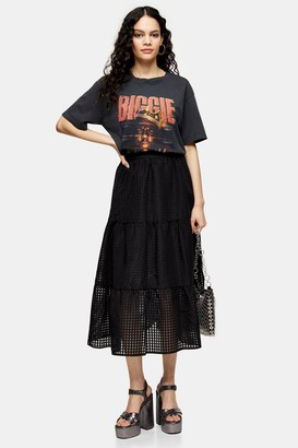 Topshop Womens Black Check Organza Tiered Midi Skirt - Black