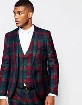 Vito Tartan Suit Jacket In Slim Fit - Red