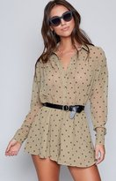The Fifth Label The Fifth Midnight Memories Playsuit Khaki Daisy Print