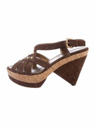 Prada Suede Studded Accents Slingback Sandals Brown