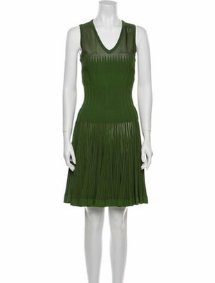 Alaia V-Neck Knee-Length Dress w/ Tags Green