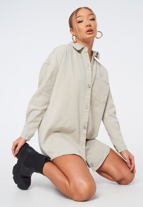 Missguided Petite Stone Oversized Denim Shirt Dress