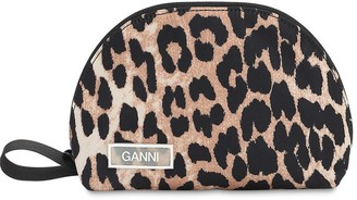 Ganni Small Leopard Printed Nylon Makeup Bag