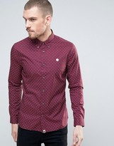 Pretty Green Polo Shirt With Polka Dot In Regular Fit Burgundy