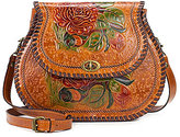 Patricia Nash Painted Rose Collection Arezzo Whip-Stitched Floral Saddle Bag