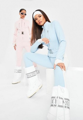 Missguided Blue Msgd Ski Slim Fit Belted Snow Suit