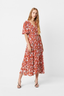 French Connection Aletta Crepe Tie Waist Floral Midi Dress