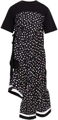 3.1 Phillip Lim Asymmetric Jersey-paneled Floral-print Silk-twill Dress