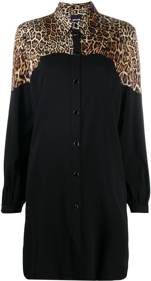 Just Cavalli Leopard Print Panelled Shirt Dress