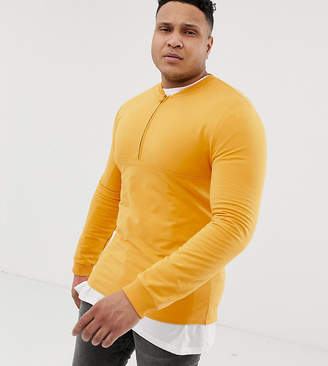 Asos Design DESIGN Plus sweatshirt with half zip in yellow