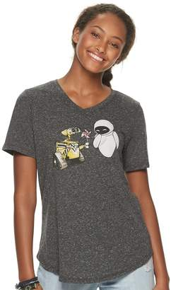 Licensed Character Juniors' Evergreen Disney's WALL-E V-Neck Graphic Tee