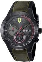 Ferrari Scuderia Men's 'REV EVO CHRONO' Quartz Resin and Leather Casual Watch, Color: Green (Model: 0830397).