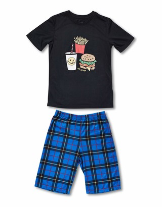 Joe Boxer Big Boy's LICKY Plaid Tee/Short Set Sleepwear