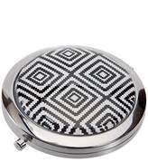 Harry D. Koenig Compact Double Mirror Round Black/White Geometric, 1-Count