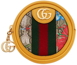 Gucci Yellow and Multicolor GG Flora Ophidia Coin Purse