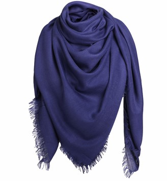 Alleza Women's Scarf Long Large Shawl Wrap Stole Square Muffler Soft Solid Colour 140 * 140 for Daily Wedding Evening Navy Blue