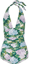 Dolce & Gabbana Ruched Printed Halterneck Swimsuit - Forest green