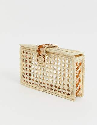 Kaanas woven raffia clutch in natural-Beige