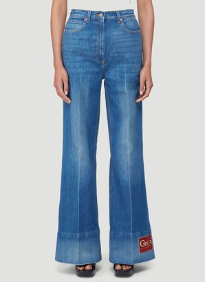 Gucci Logo Patch Flared Jeans