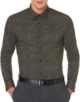 Perry Ellis Fine Stripe Paisley Print Shirt