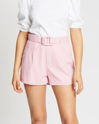 Missguided Co-Ord Linen Look Belted Shorts