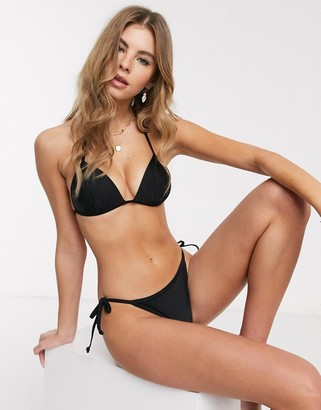 New Look tie side bikini bottoms in black