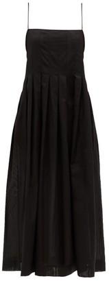 Three Graces London Lucia Pleated Cotton-gauze Midi Dress - Black