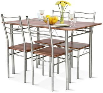 Overstock Costway 5 Piece Dining Table Set Wood Metal Kitchen Breakfast