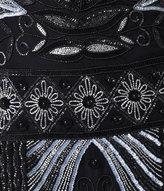 Unique Vintage 1920s Style Black & Silver Deco Beaded Caspian Flapper Dress