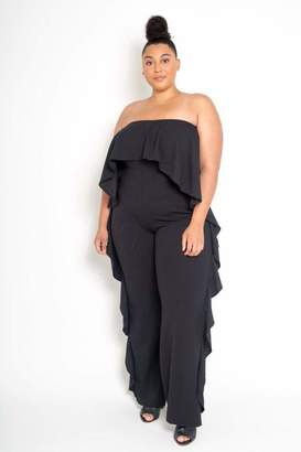 Couture Buxom Strapless Ruffled Jumpsuit in Black Size 3X