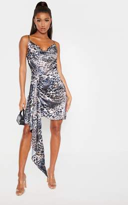 PrettyLittleThing Grey Satin Leopard Cowl Drape Bodycon Dress