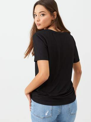 Very Ribbed V Neck Top - Black
