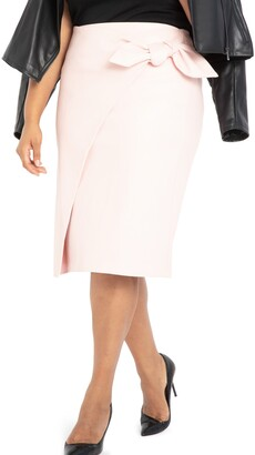 ELOQUII Wrap Front Faux Leather Pencil Skirt