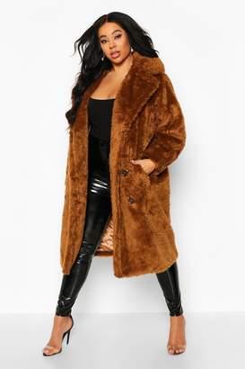 boohoo Plus Teddy Faux Fur Button Detail Coat