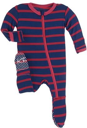 Kickee Pants Kids Print Footie with Zipper (Infant) (Everyday Heroes Navy Stripe) Boy's Jumpsuit & Rompers One Piece
