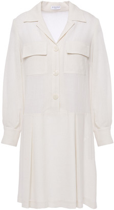 Claudie Pierlot Pleated Slub Crepe Mini Dress
