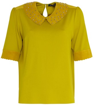 Manley Alisha Studded Leather Collar Top Yellow