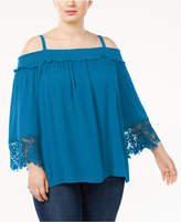 INC International Concepts Plus Size Cold-Shoulder Top, Created for Macy's