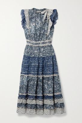 Ulla Johnson Kiri Ruffled Patchwork Printed Cotton-blend Voile Midi Dress - Indigo