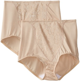 Bali Women's Shapewear Double Support Coordinate Brief with Lace Tummy Panel Light Control 2-Pack