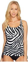 MICHAEL Michael Kors Quincy Zebra Lace-Up Tankini Women's Swimwear