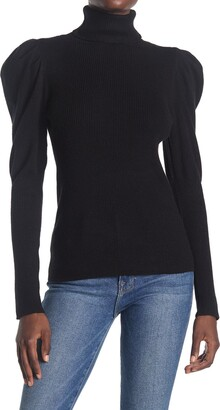 Cyrus Turtleneck Puff Shoulder Ribbed Sweater