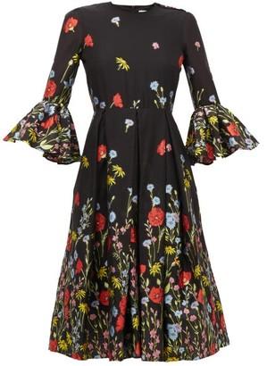 Erdem Irvine Floral-jacquard Trumpet-sleeve Dress - Black Multi