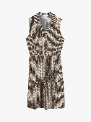 Warehouse Chevron Print Sleeveless Shirt Dress, Tan/Multi