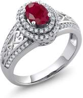 Gem Stone King 1.46 Ct Oval Red Ruby 925 Sterling Silver Ring