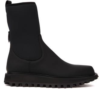 Dolce & Gabbana Black Neoprene And Calfskin Ankle Boots