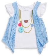 Flapdoodles Girls 2-6x? Little Girls Flutter-Sleeve Necklace T-shirt and Vest Set